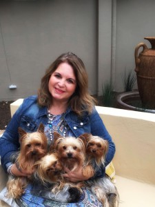 Self-published author, Mia Henry, and four of her gorgeous furry kids